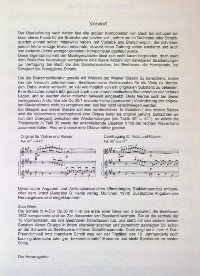 Sonate A-dur, op. 30, Nr. 1, für Violine und Klavier, arrangiert für Bratsche und Klavier