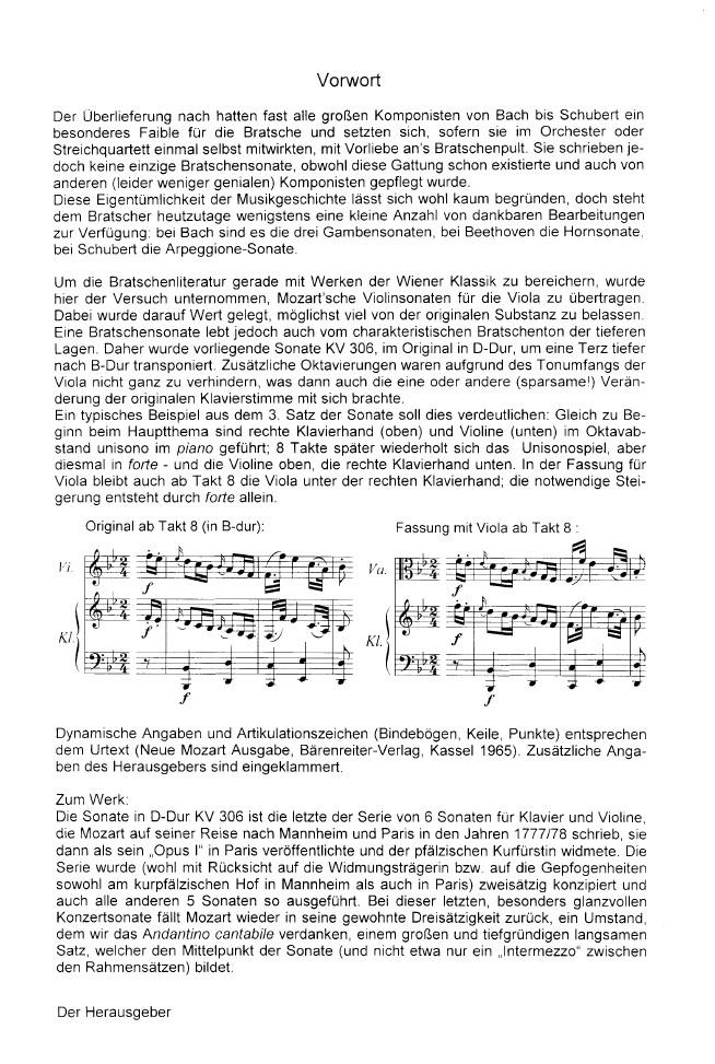 Sonate D-dur, KV 306, für Violine und Klavier, arrangiert für Bratsche und Klavier (B-dur)