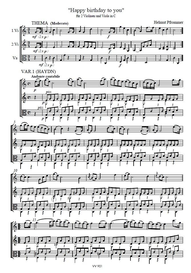 Happy Birthday to you, C-dur, für 2 Violinen und Bratsche