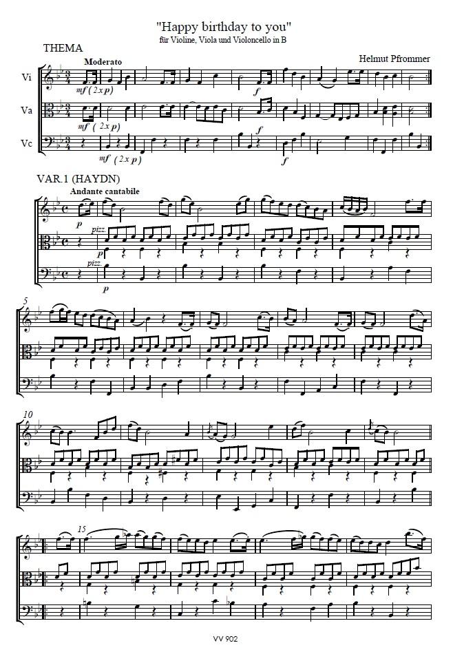 Happy Birthday to you, B-dur, für Violine, Bratsche und Violoncello